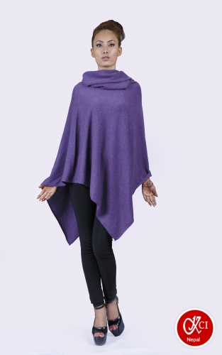 Women's Pure Cashmere Over Neck Poncho