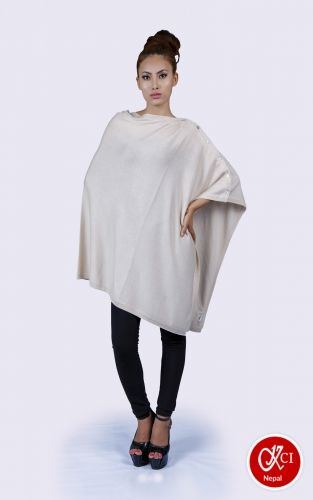 Women's Pure Cashmere Poncho With Button