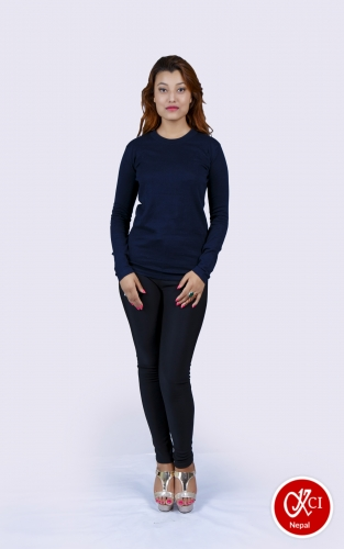 Blue Cashmere Pullover For Women