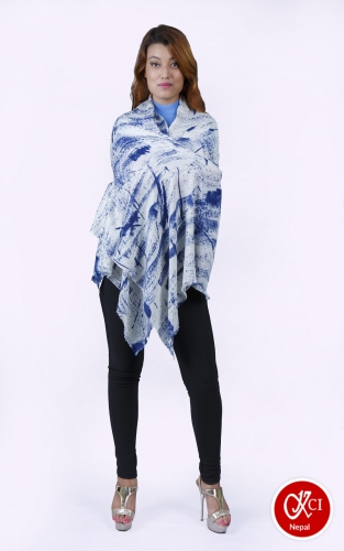 Printed Shawl For Women Blue