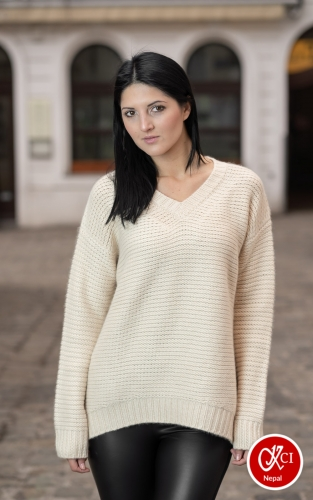 Cashmere V Neck Pullover For Women