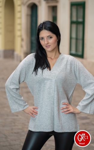 Grey Cashmere Pullover Form Women