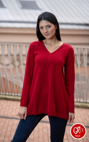 Cashmere V Neck Top For Women