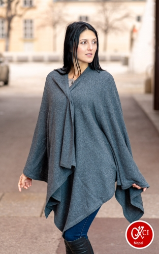 Oversize Cashmere Pancho For Women